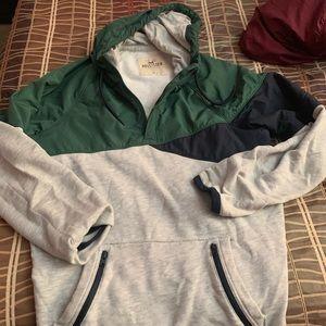 Hollister Lightweight Sweatshirt w/ Hood & Halfzip